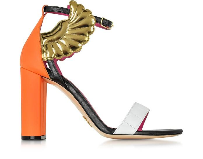 Malikah Color-Block Leather High Heel Sandal - Oscar Tiye