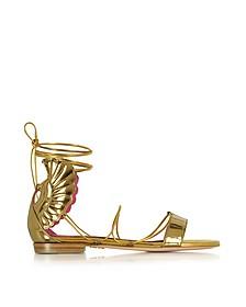 Malikah Gold Leather Flat Sandal - Oscar Tiye