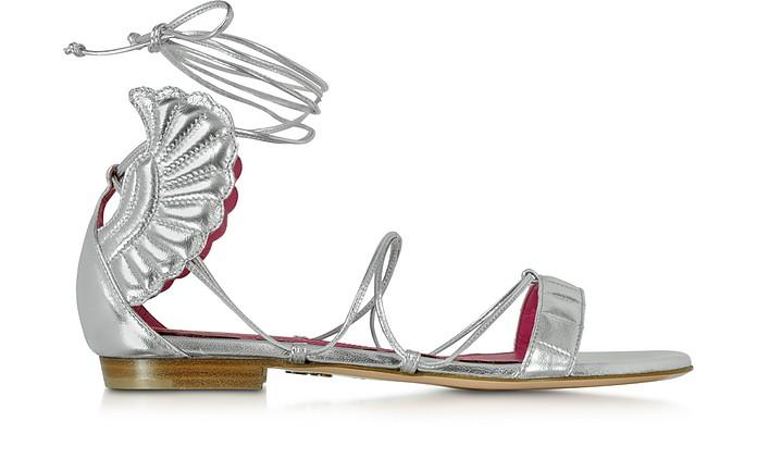 Malikah Silver Leather Flat Sandal - Oscar Tiye