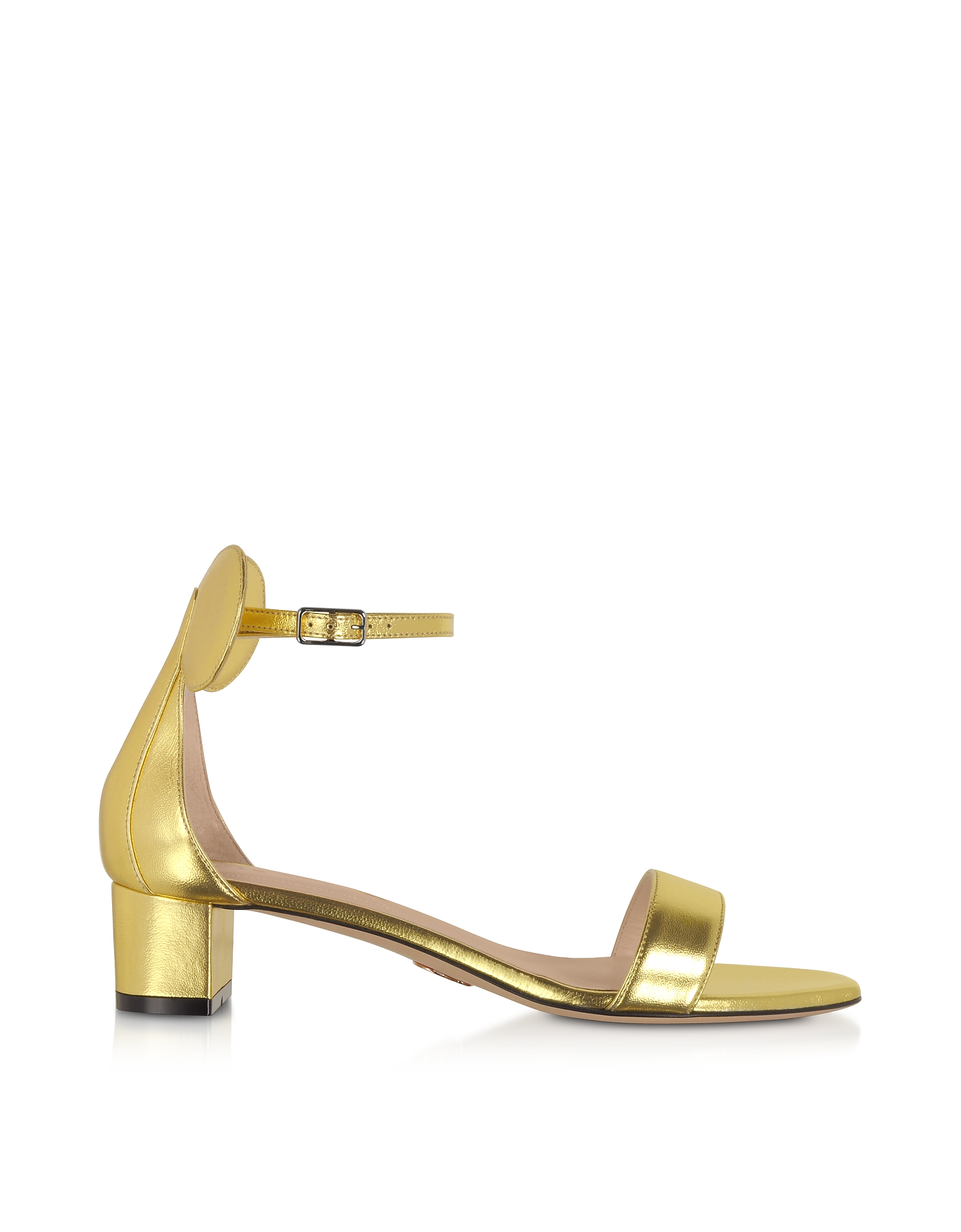 Gold Minnie Block Mid Heel Sandals