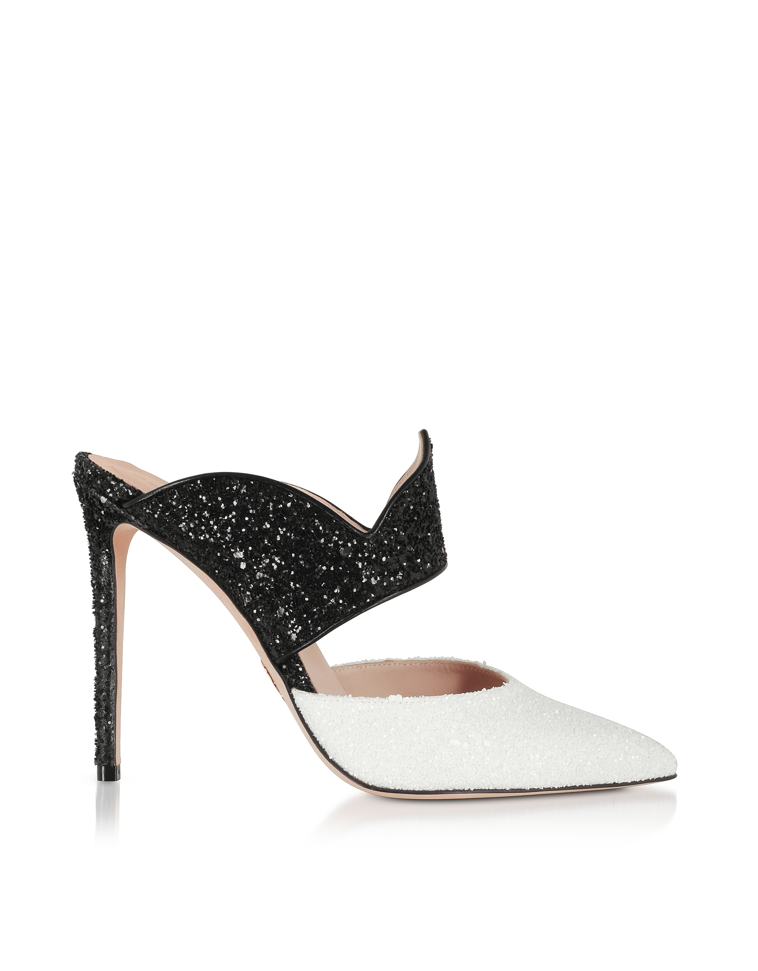 Brianne Noir & Blanc High Heel Mules