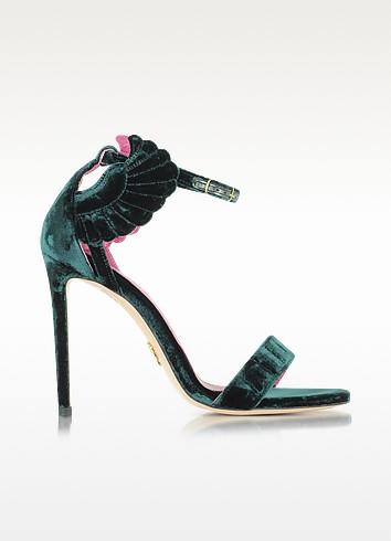 Malikah Green Velvet Sandal - Oscar Tiye