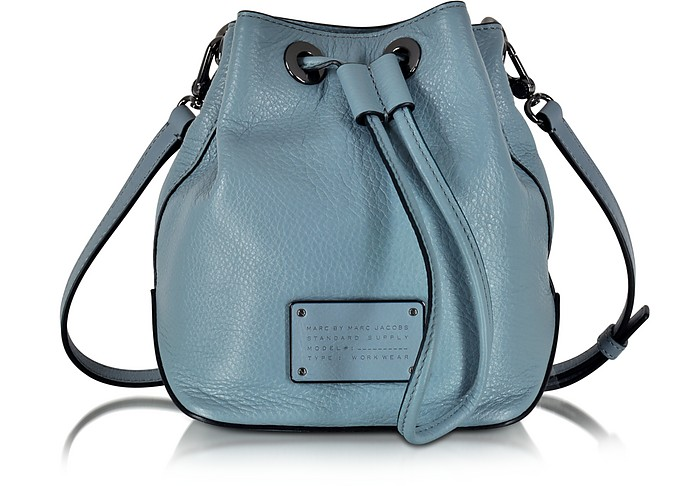 New Too Hot To Handle Drawstring Ice Blue Leather Bucket Bag - Marc by Marc Jacobs