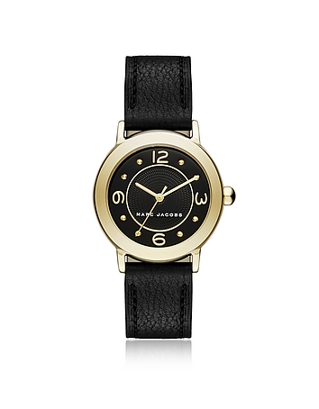 Marc Jacobs Riley Gold Tone and Black Leather Bracelet Women's Watch