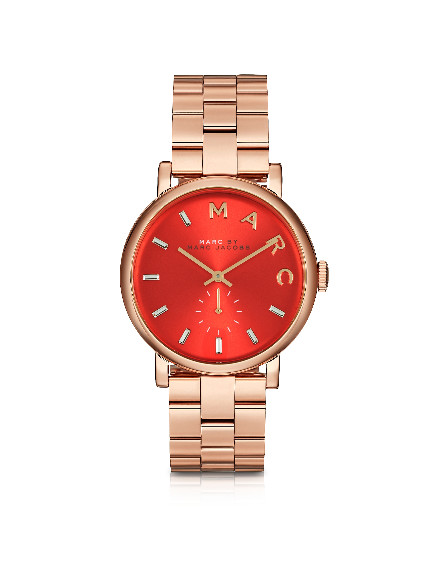 Baker - 36 мм Женские Часы из Нержавеющей Стали с Красным Циферблатом