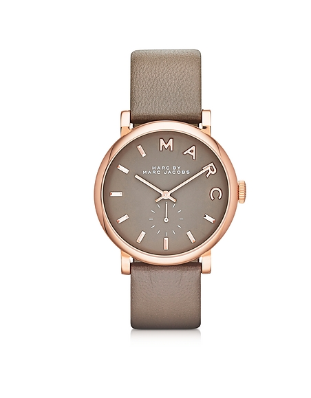 Foto Marc by Marc Jacobs Baker 36MM Orologio in Acciaio Rose con Cinturino in Pelle Taupe Orologi Donna