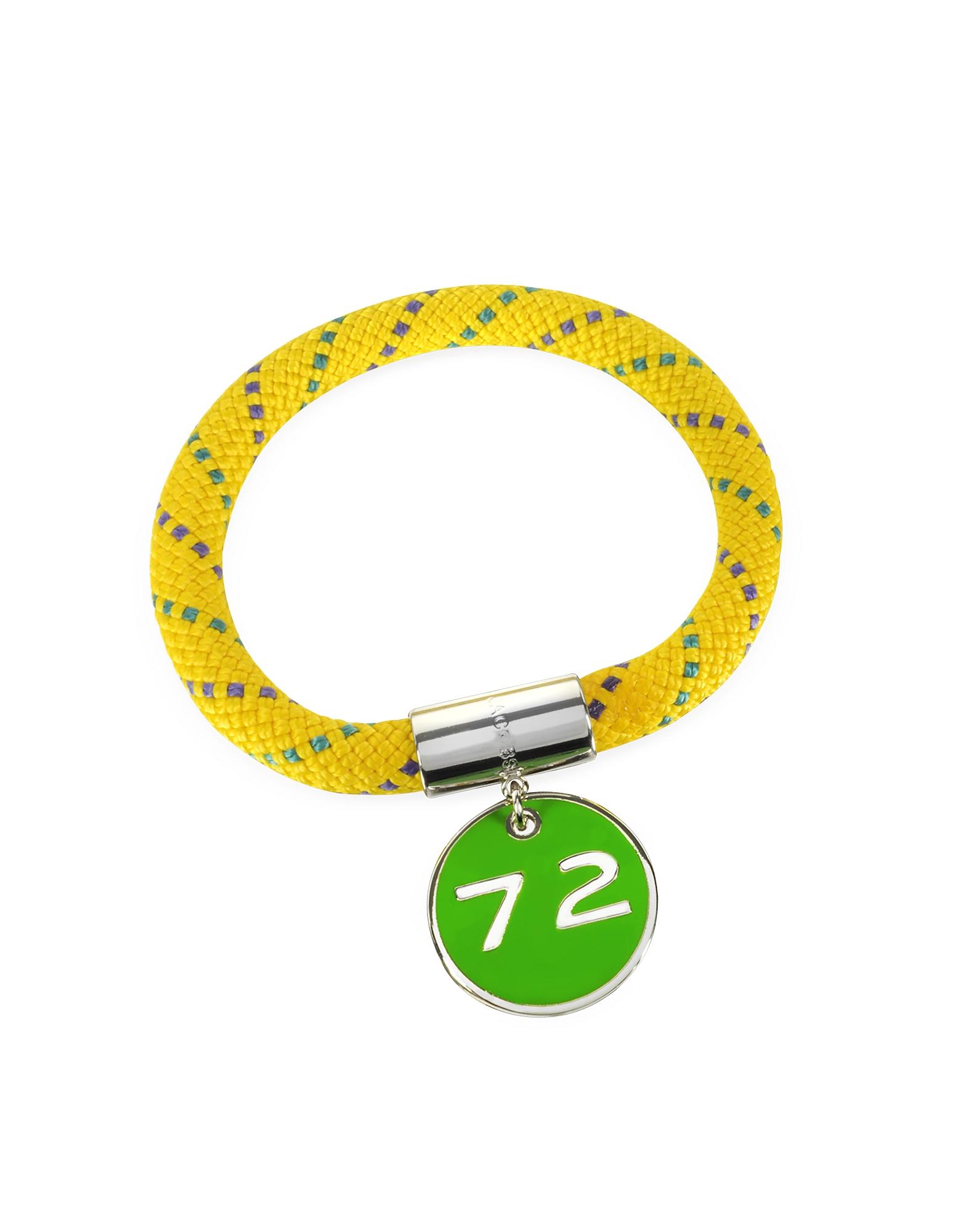 Желтый Браслет из Нейлона с Серебристым Медным Чармом 72