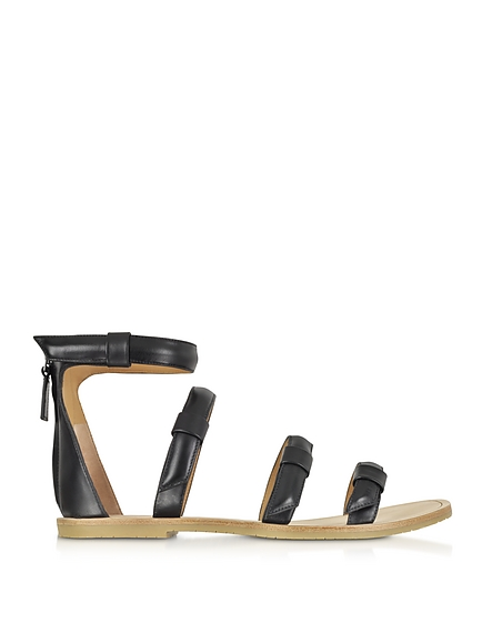 Marc by Marc Jacobs Seditionary Sandalo Flat in Pelle Nera
