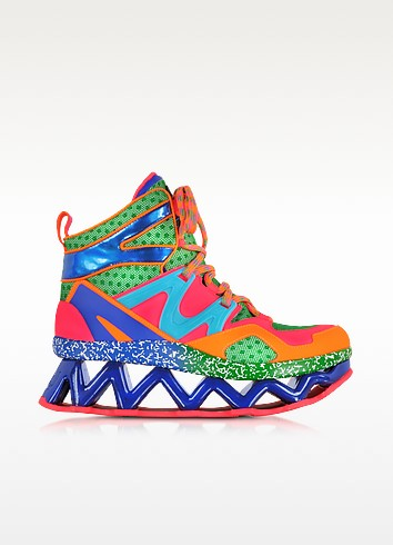 Pink Multicolor Fabric Perforated and Eco-Leather Ninja Wedge Sneaker - Marc by Marc Jacobs
