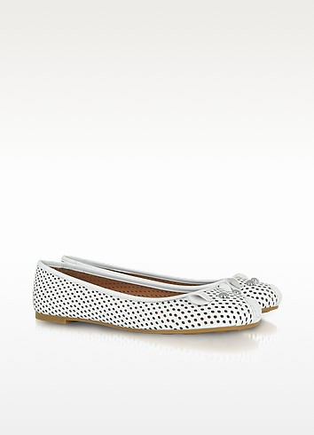 White Perforated Leather Mouse Ballerina - Marc by Marc Jacobs