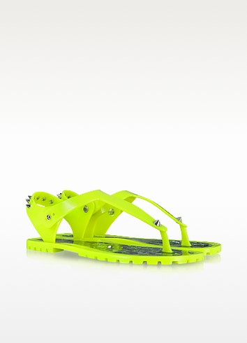 Neon Yellow Rubber Jelly Thong Sandals - Marc by Marc Jacobs