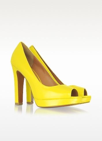 Yellow Leather Open-toe Platform Pump - Marc by Marc Jacobs