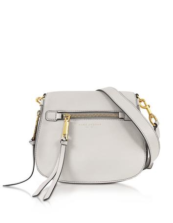 marc jacobs female recruit dove leather small saddle bag