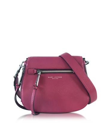 marc jacobs female recruit wild berry leather small saddle bag
