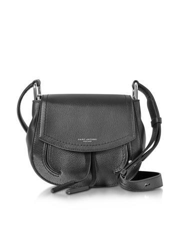 marc jacobs female maverick black leather mini shoulder bag