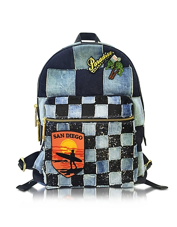 Marc Jacobs - Biker Denim Backpack w/Multi Patches