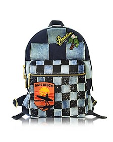Biker Denim Backpack w/Multi Patches - Marc Jacobs