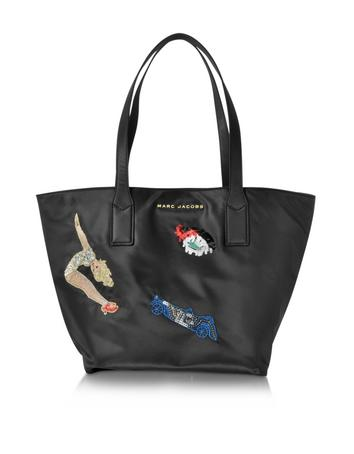 marc jacobs female vintage collage wingman black nylon tote bag