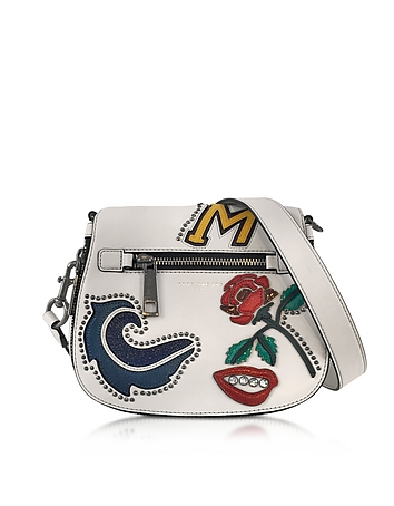 Marc Jacobs - MJ Collage Dove Leather Small Saddle Bag w/Multi Patches