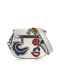 MJ Collage Dove Leather Small Saddle Bag w/Multi Patches - Marc Jacobs