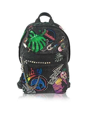 Paradise Black Nylon Biker Backpack