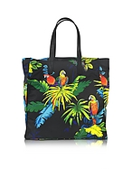Marc Jacobs Shopper B.Y.O.T in Nylon Nero con Pappagalli Multicolor - marc jacobs - it.forzieri.com