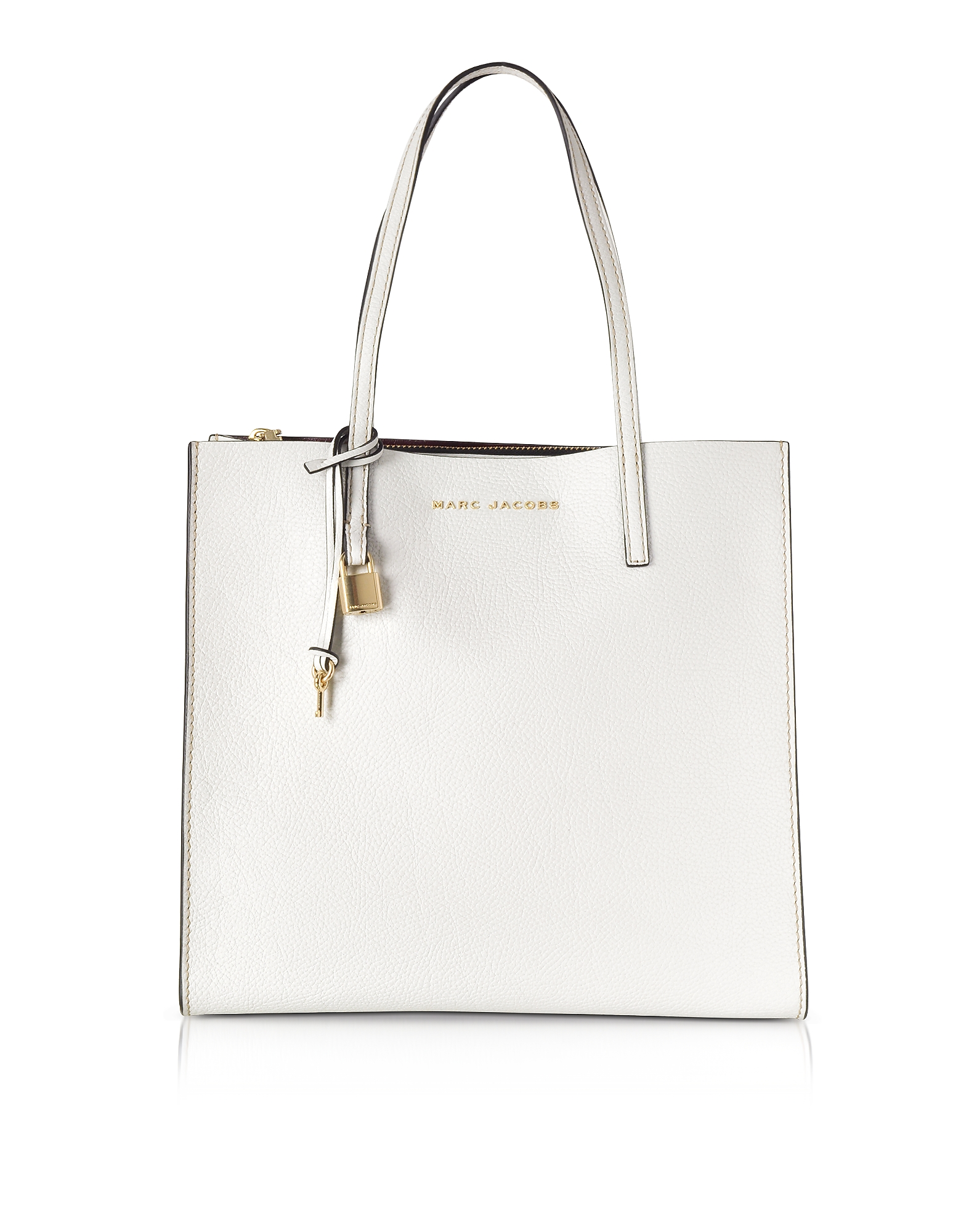 Marc Jacobs Handbags, White Glow Leather The Grind Tote Bag