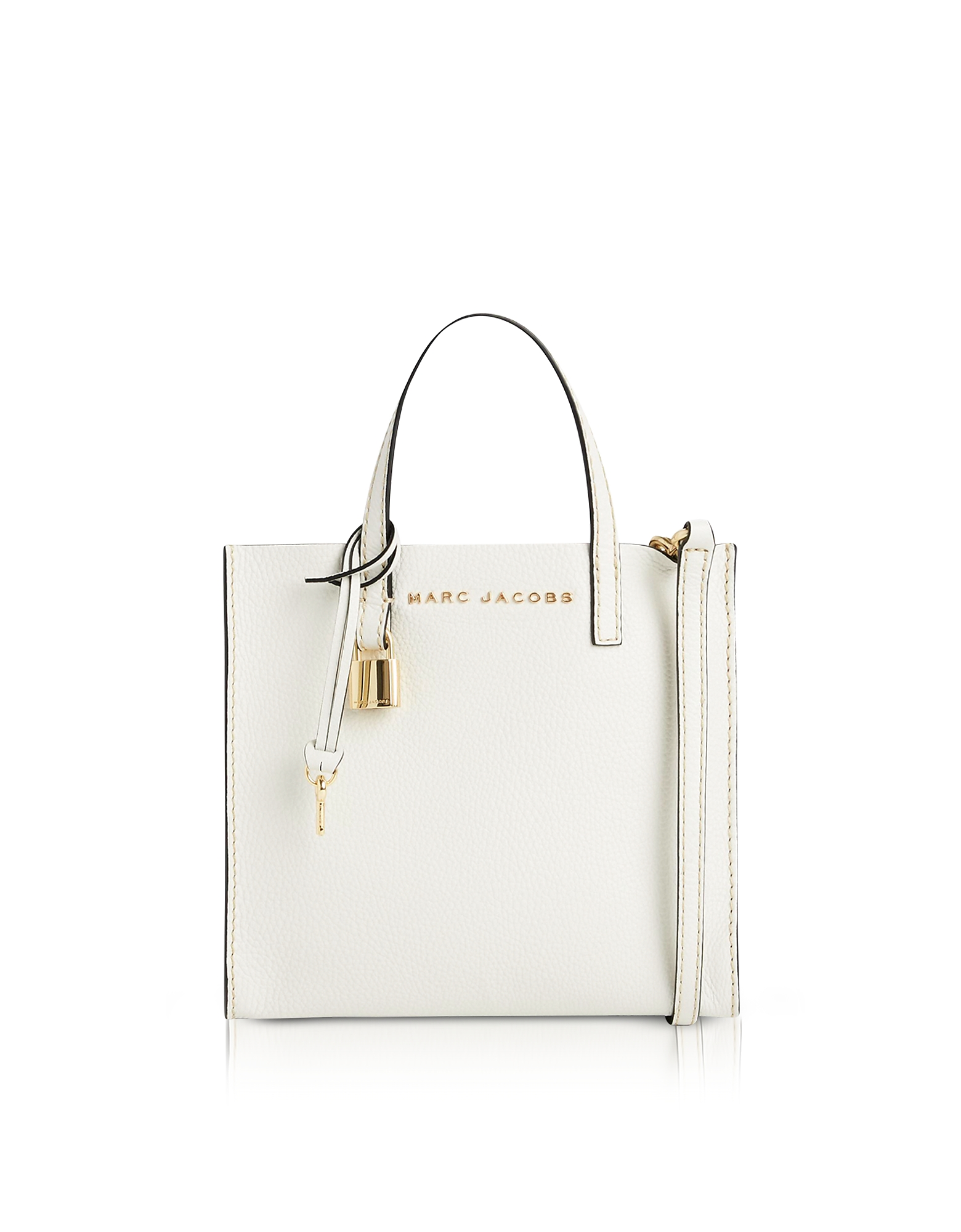 Marc Jacobs Handbags, White Glow Leather The Mini Grind Tote Bag