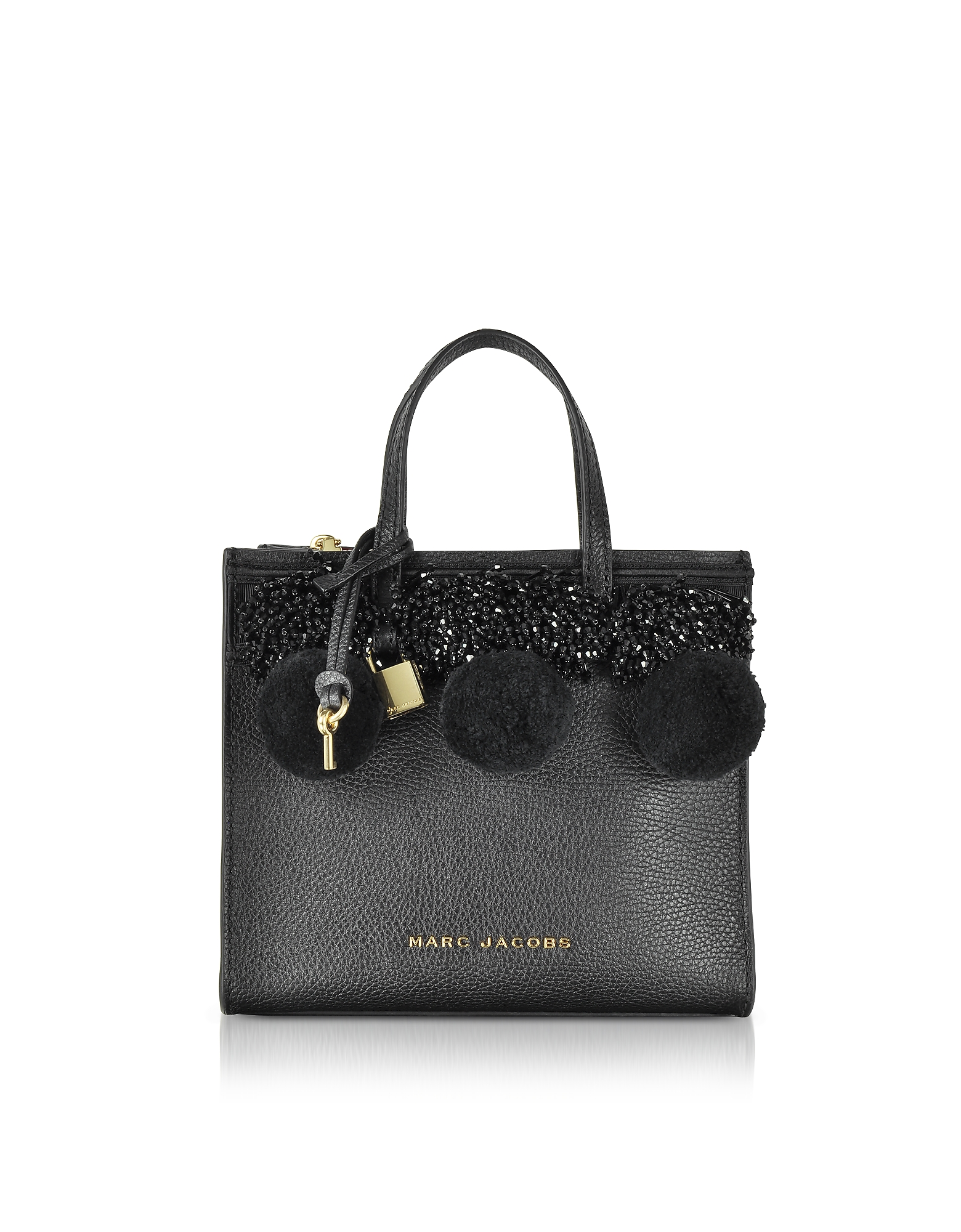 Marc Jacobs Handbags, The Grind Mini Beads & PomPoms Black Leather Tote Bag