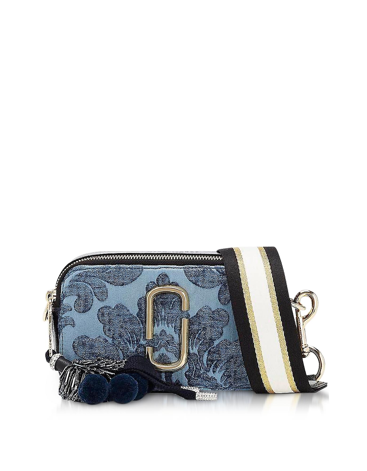 Marc Jacobs Handbags, Blue Damask Canvas Snapshot Small Camera Bag