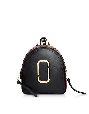 Color-Block Leather Pack Shot Backpack
