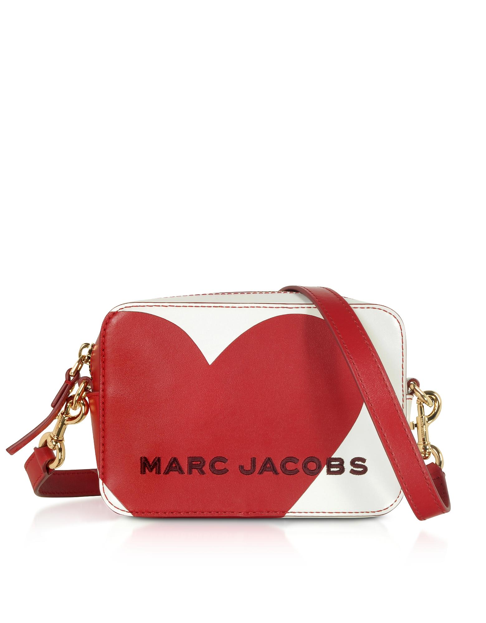 Marc Jacobs Designer Handbags, The Box Heart Intarsia Cotton Leather Crossbody Bag