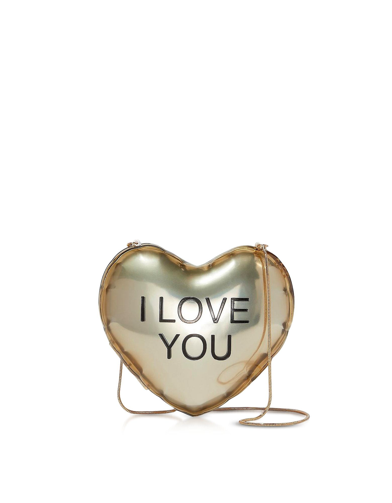 Marc Jacobs Designer Handbags, The Balloon Minaudiere Gold Plastic Heart Clutch