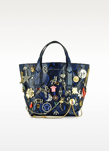 Wingman Cobalt Blue Snake Print Leather Mini Shopping Bag w/Multi Charms - Marc Jacobs