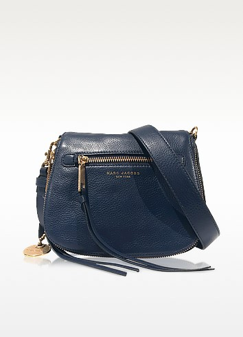Recruit Navy Blue Leather Small Saddle Bag  - Marc Jacobs