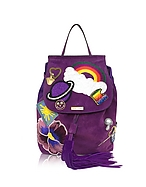 Marc Jacobs Zaino in Suede Viola con Patches Multicolor - marc jacobs - it.forzieri.com