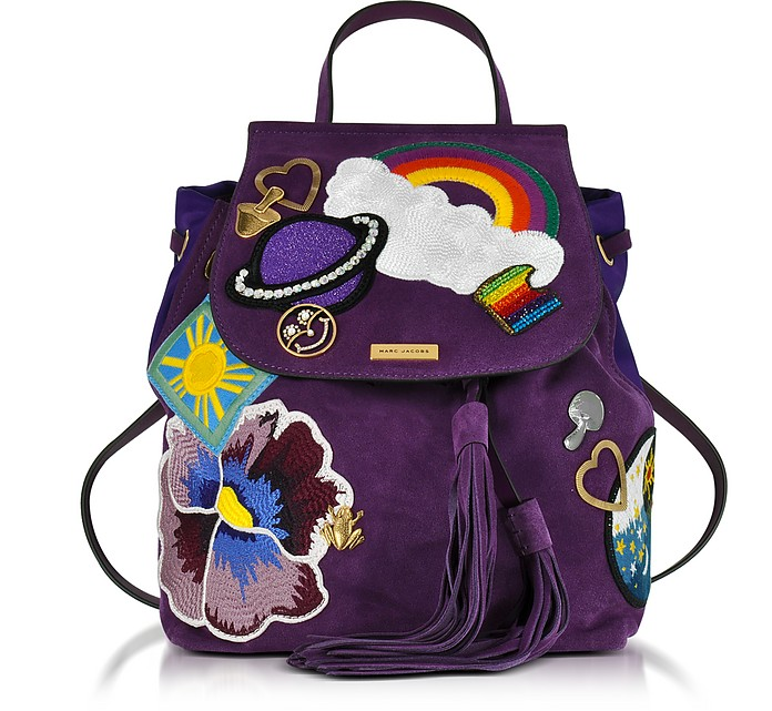 Patched Purple Suede Zip Backpack - Marc Jacobs