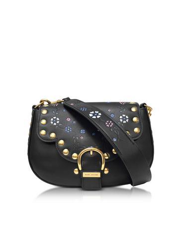 marc jacobs female 70s studded navigator black leather shoulder bag