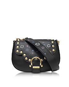 70S Studded Navigator Black Leather Shoulder Bag - Marc Jacobs