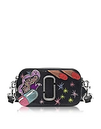 Marc Jacobs Snapshot Pill Camera Bag Borsa con Tracolla in Pelle Saffiano Nera con Glitter - marc jacobs - it.forzieri.com