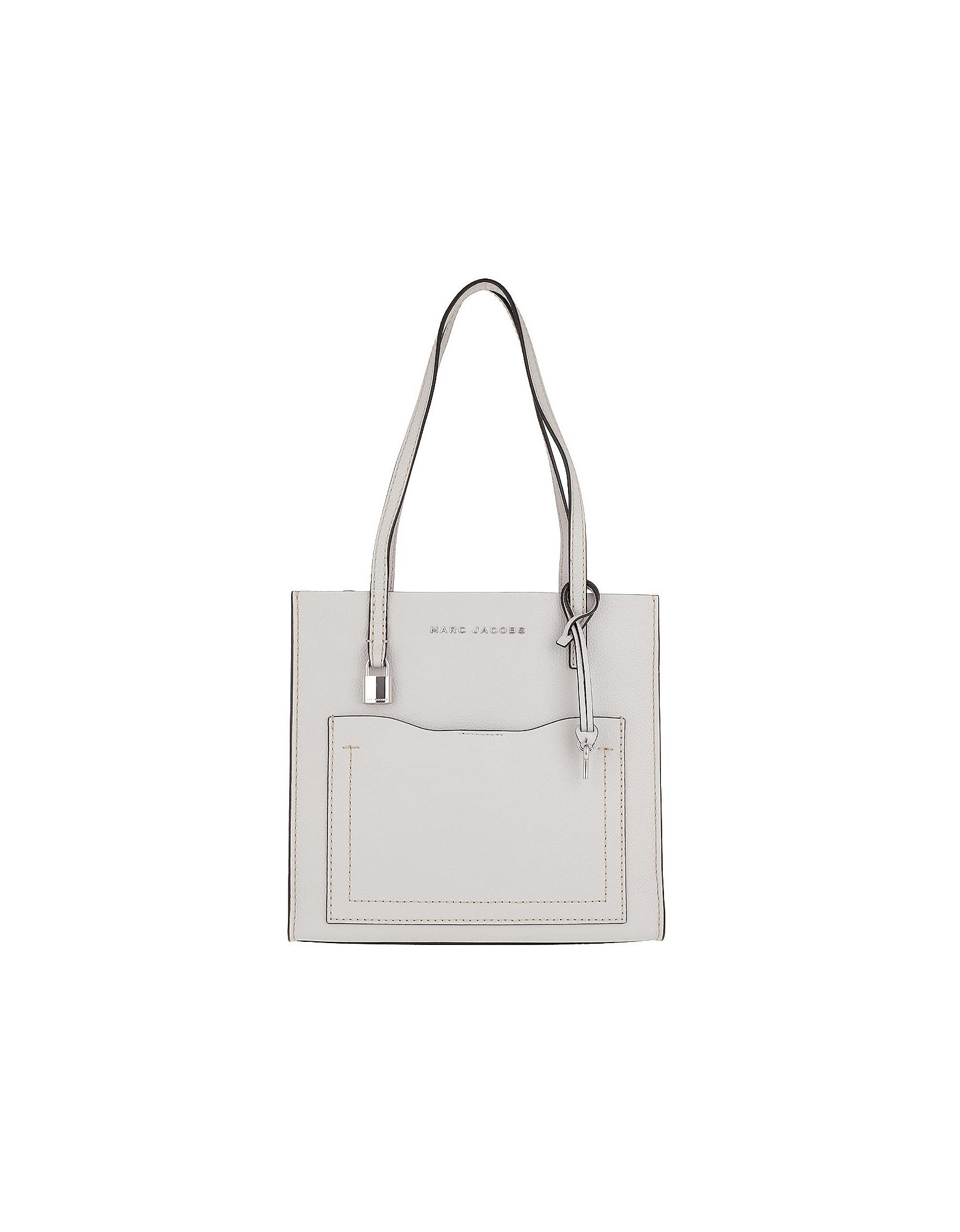 Medium Grind T Pocket Tote Bag Leather Ghost Grey