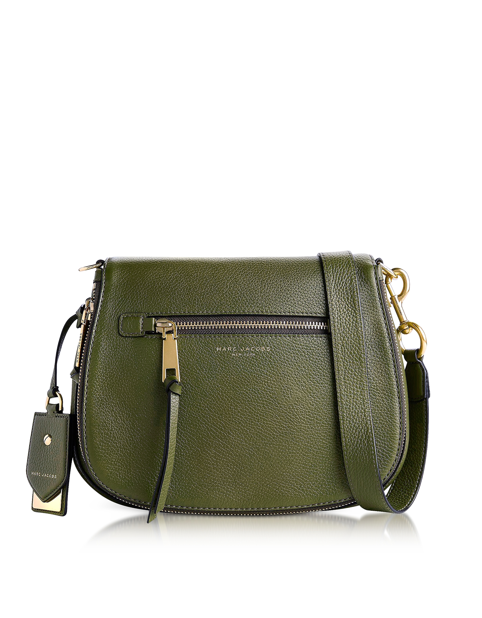marc jacobs female marc jacobs designer handbags army green recruit leather saddle bag