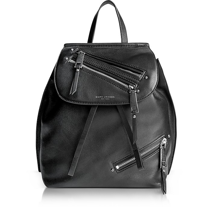 Black Leather Zip Pack Backpack - Marc Jacobs