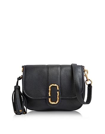 Marc Jacobs - Black Pebbled Leather Interlock Small Courier Crossbody Bag