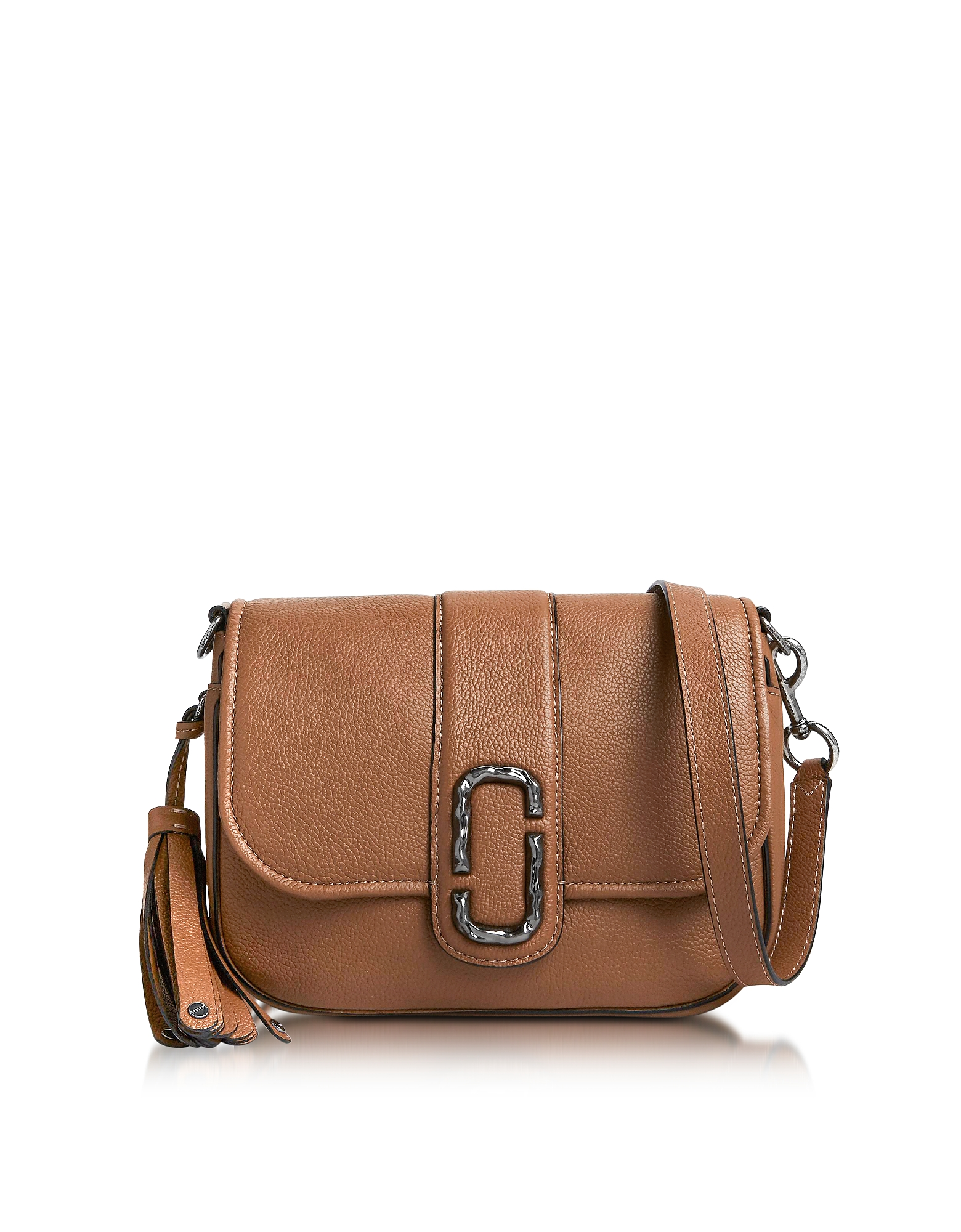 Marc Jacobs Handbags, Oak Pebbled Leather Interlock Small Courier Crossbody Bag