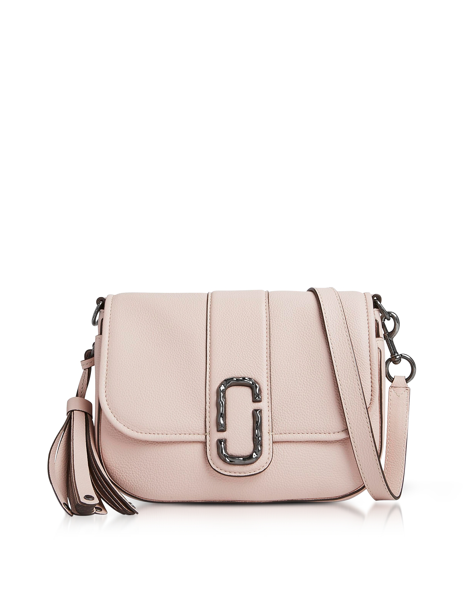 Marc Jacobs Handbags, Pale Pink Pebbled Leather Interlock Small Courier Crossbody Bag