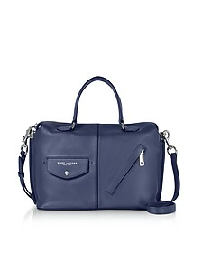 Midnight Blue Leather The Edge Satchel Bag - Marc Jacobs