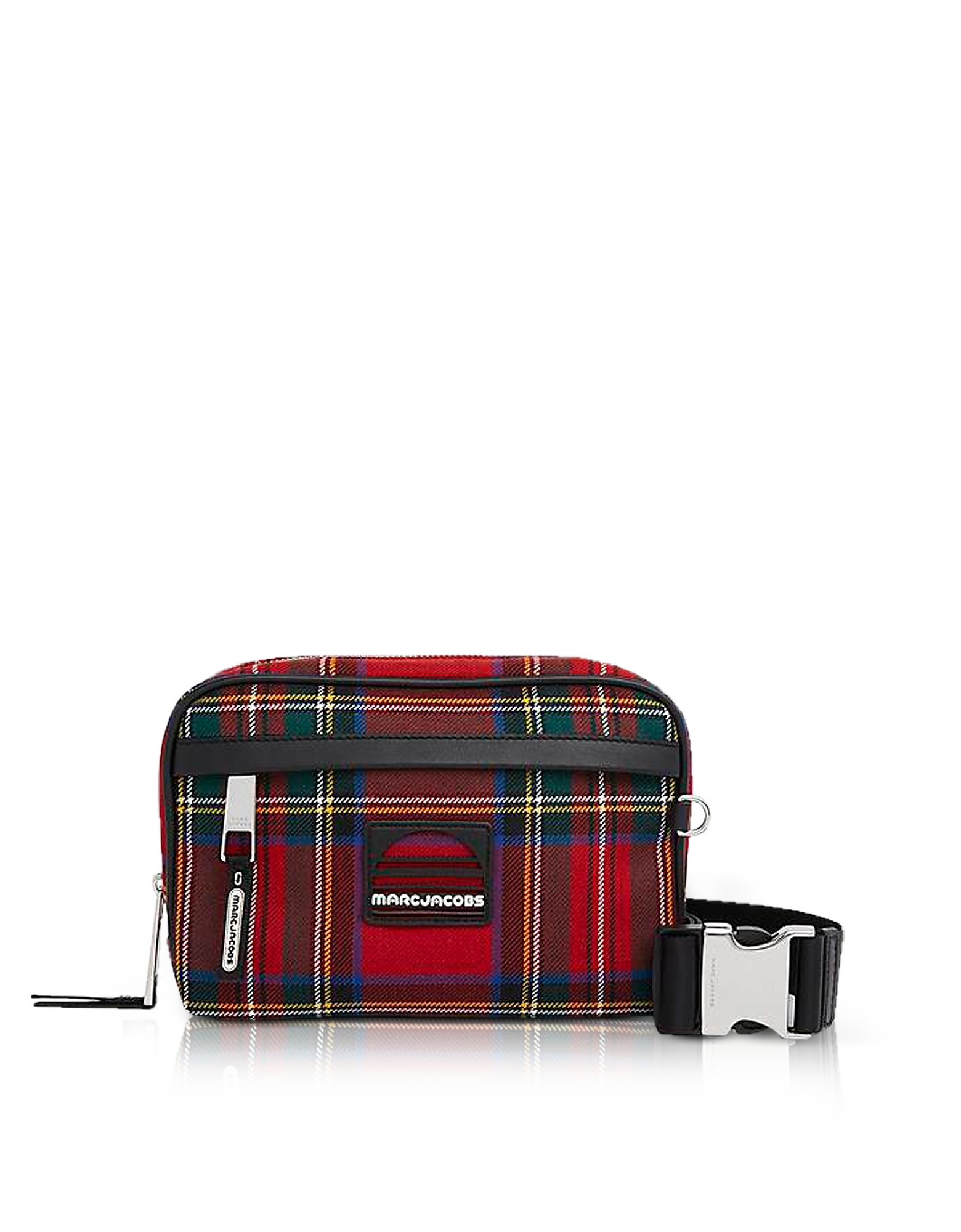 Red Tartan Sport Belt Bag. Tartan Sport Belt Bag crafted in printed fabric and leather trim, takes inspiration from sports bags with a ripping punk at