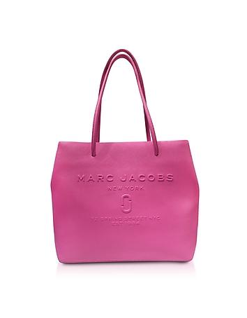 Fuchsia Saffiano Leather Logo Shopper