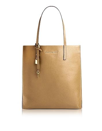 Golden Beige Leather The Grind Shopper Tote Bag